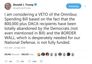 President Trump Considering A VETO Of The $1.3 Trillion Spending Bill