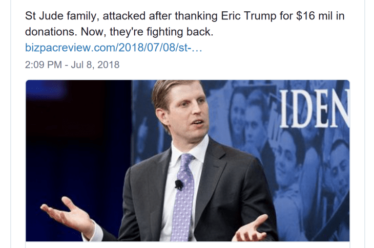 St. Jude Family Fights Back After Getting SLAMMED For Thanking Eric Trump