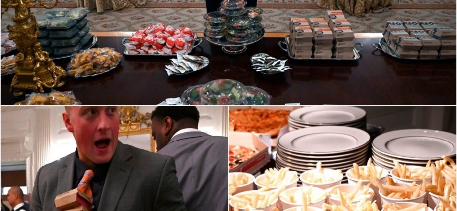 President Trump Serves Fast Food to College Football Champions Clemson