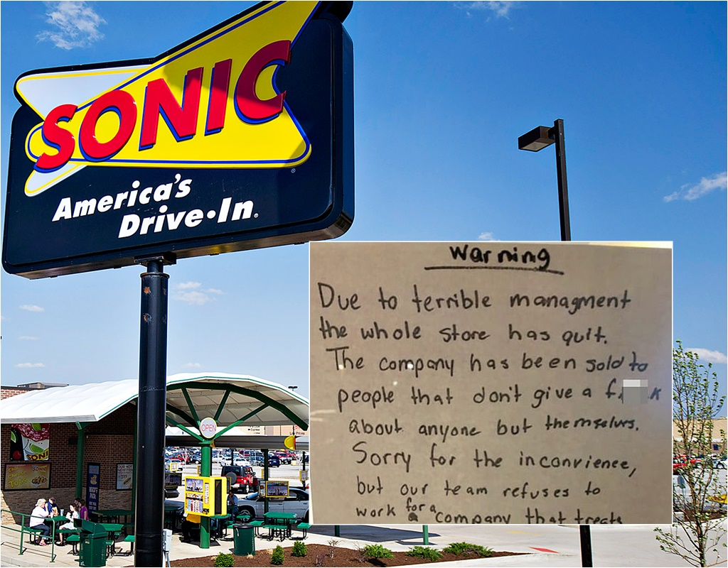 Sonic Workers Walk Out Leaving A Note On Front Door 'Whole Store Has Quit' Due to 'Terrible Management'