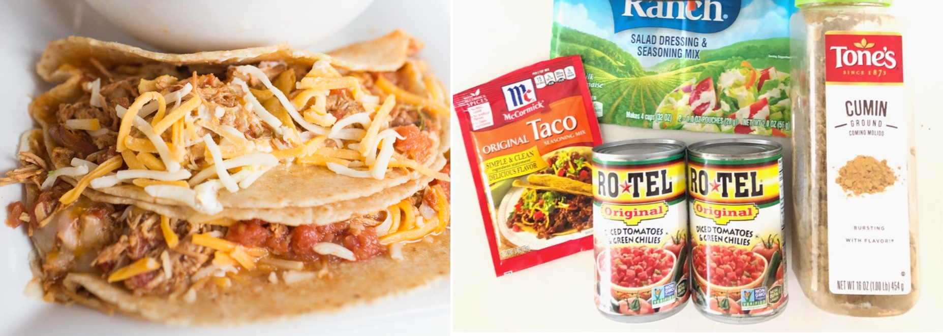 Two Minute Crockpot Chicken Tacos