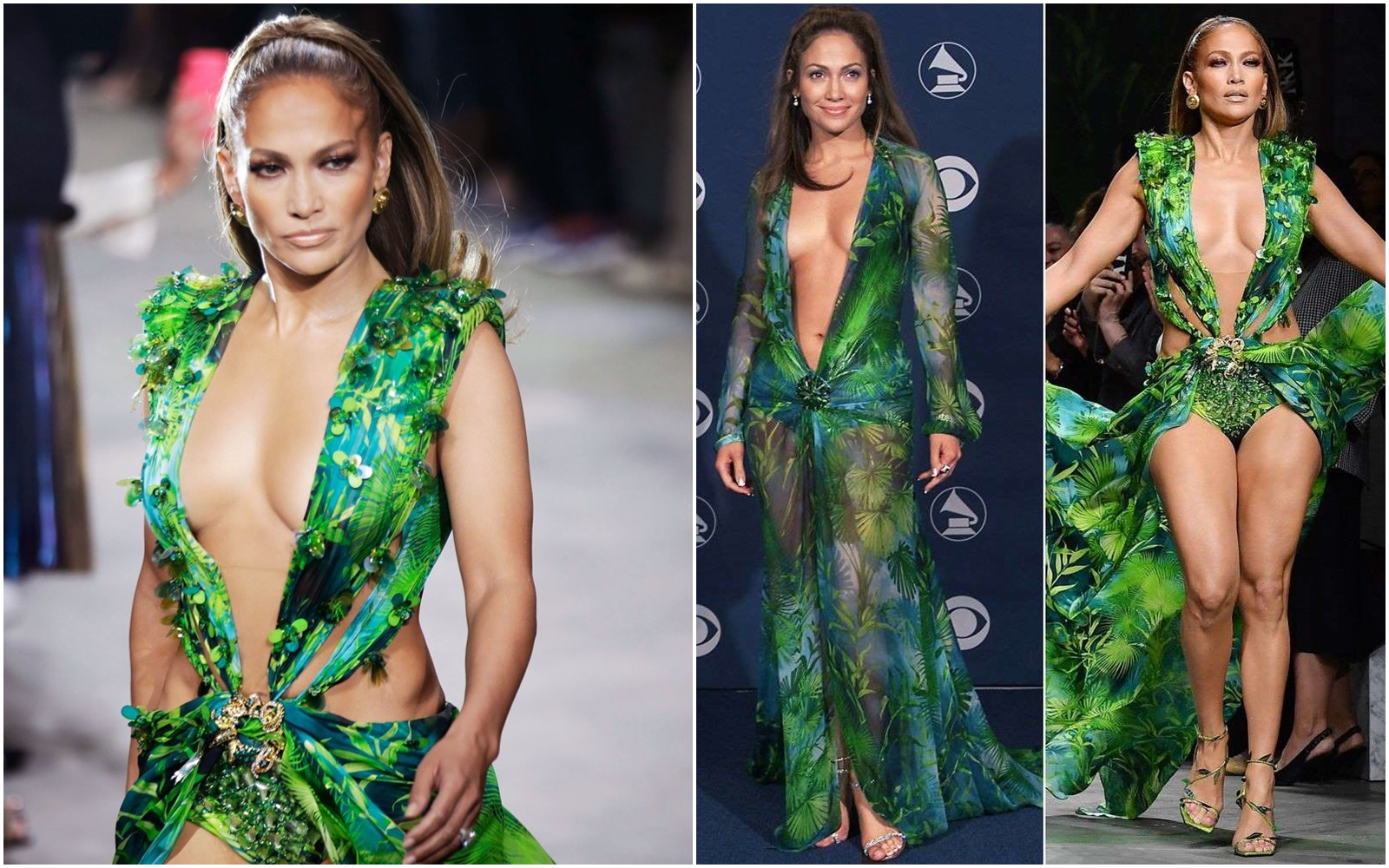 Jennifer Lopez Closes Versace Show in Iconic 2000 Grammys Dress