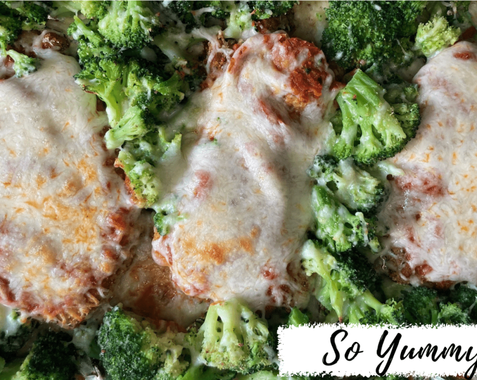 Chicken Parmesan with Broccoli on a Sheet Pan