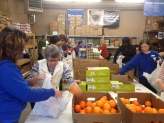 We packed the bags assembly line style while we mingled with other volunteers.