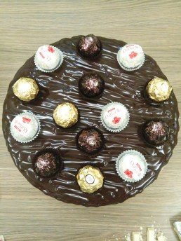 top view chocolate and ferrero cake