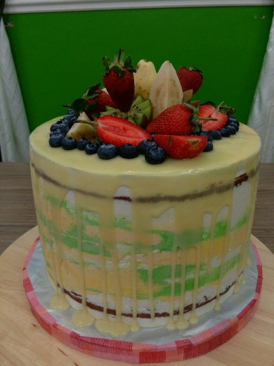 yellow drip fruit cake