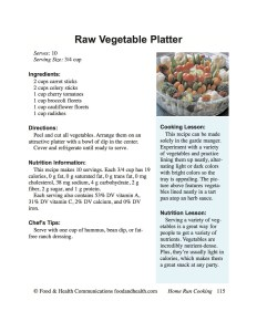 Raw Vegetable Platter Handout
