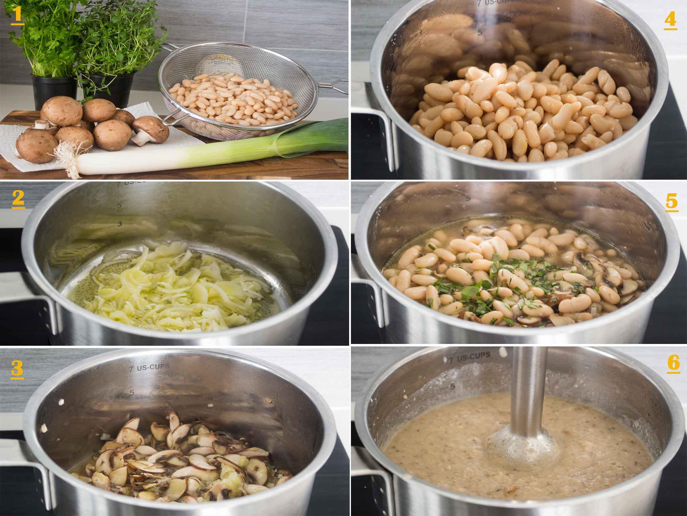 Cream of Beans & Mushrooms Soup STEPS|foodandjourneys.net