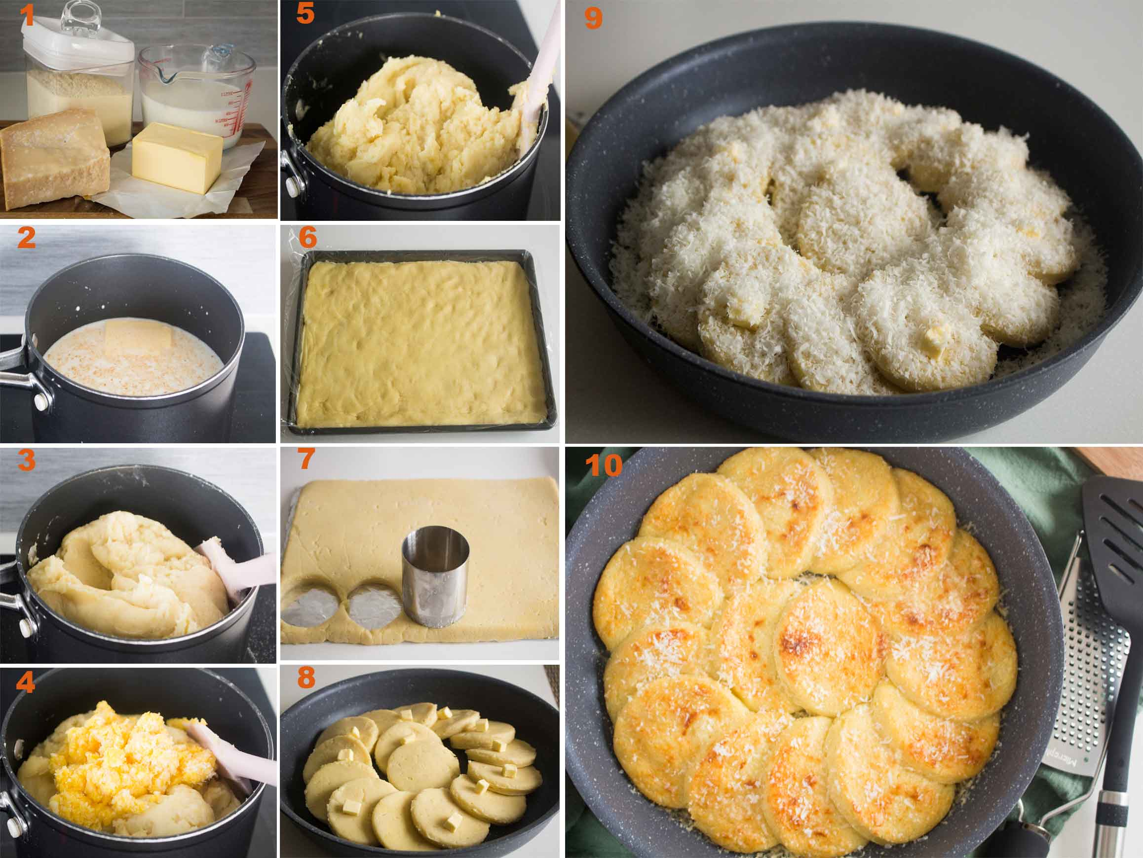collection of images for steps in making gnocchi alla romana|foodandjourneys.net