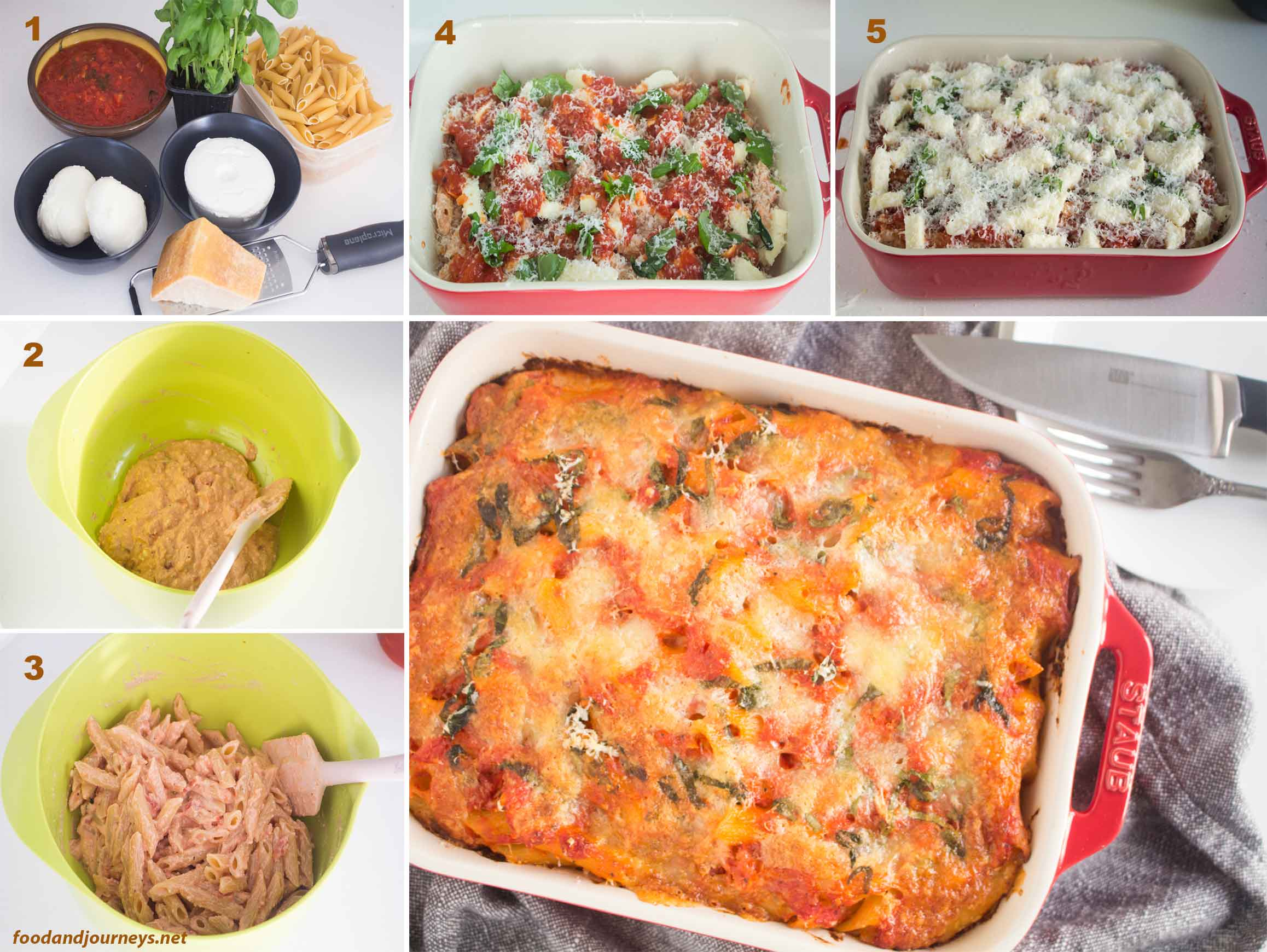 Collage showing the steps in making penne alla sorrentina.