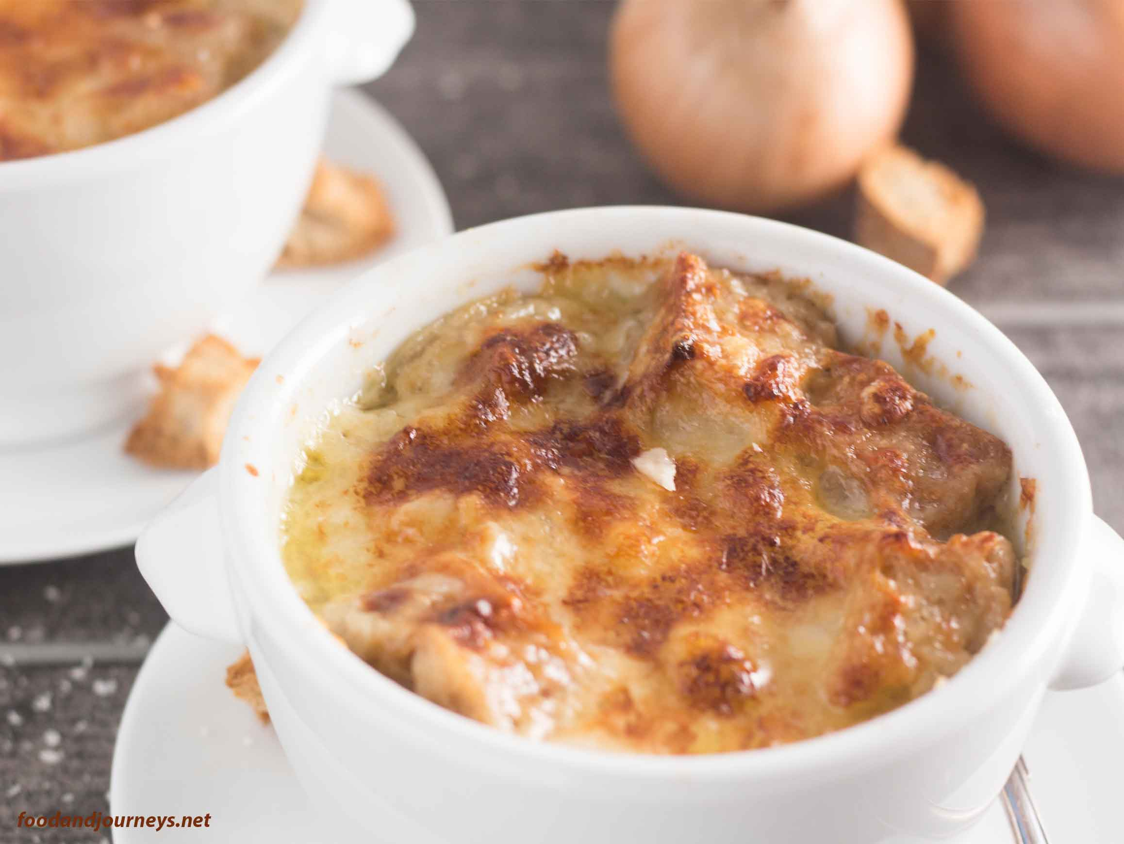 Onion Soup Gratin in a White Bowl|foodandjourneys.net