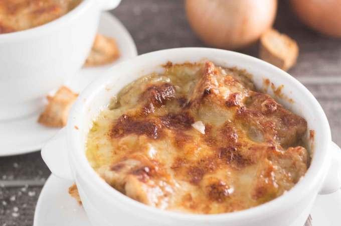 Onion Soup Gratin in a White Bowl