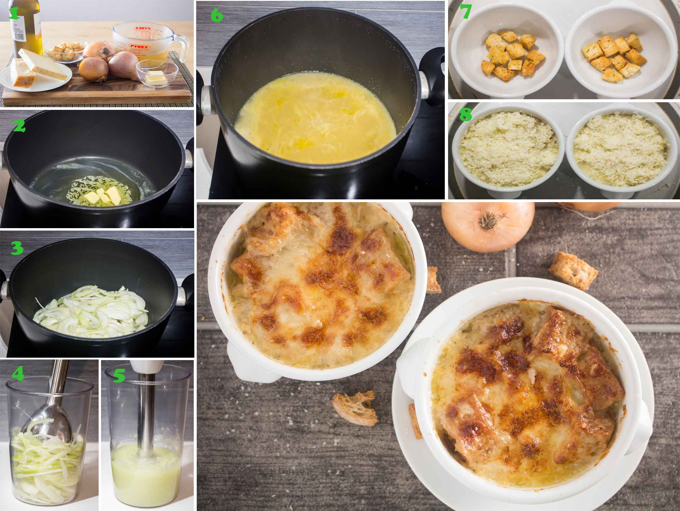 An image showing the steps to make onion soup gratin|foodandjourneys.net