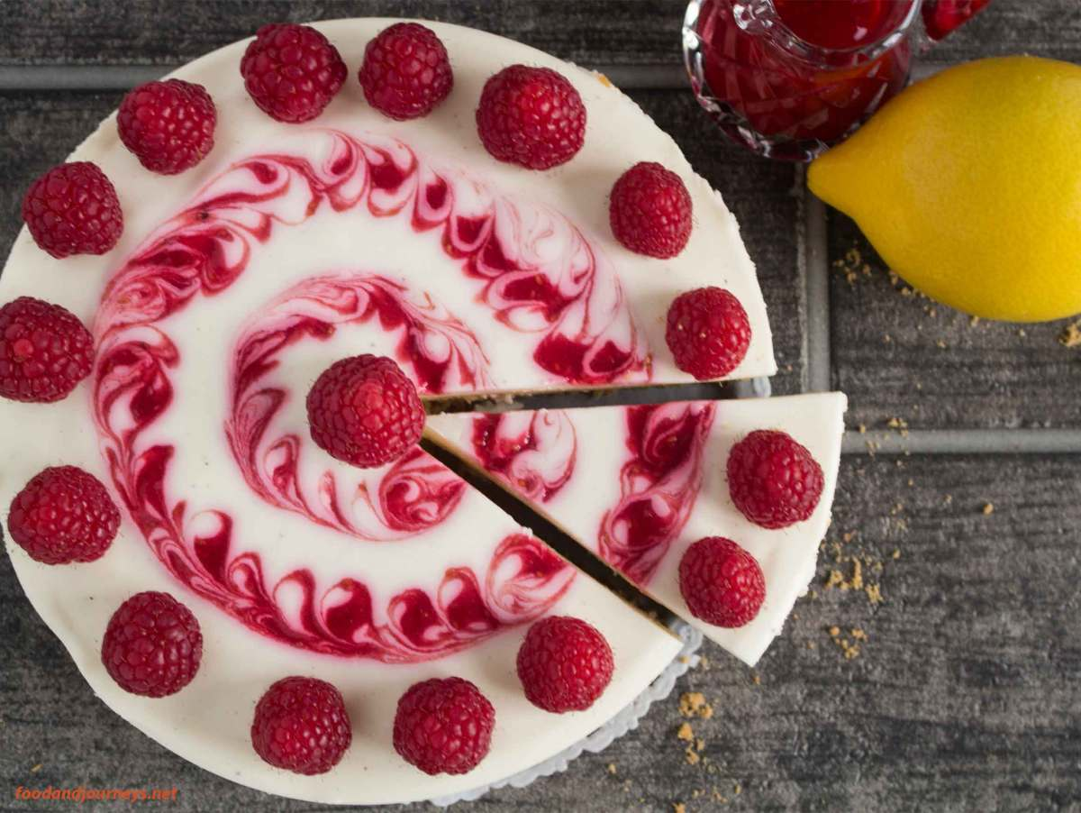 Lemon-Raspberry No Bake Cheesecake
