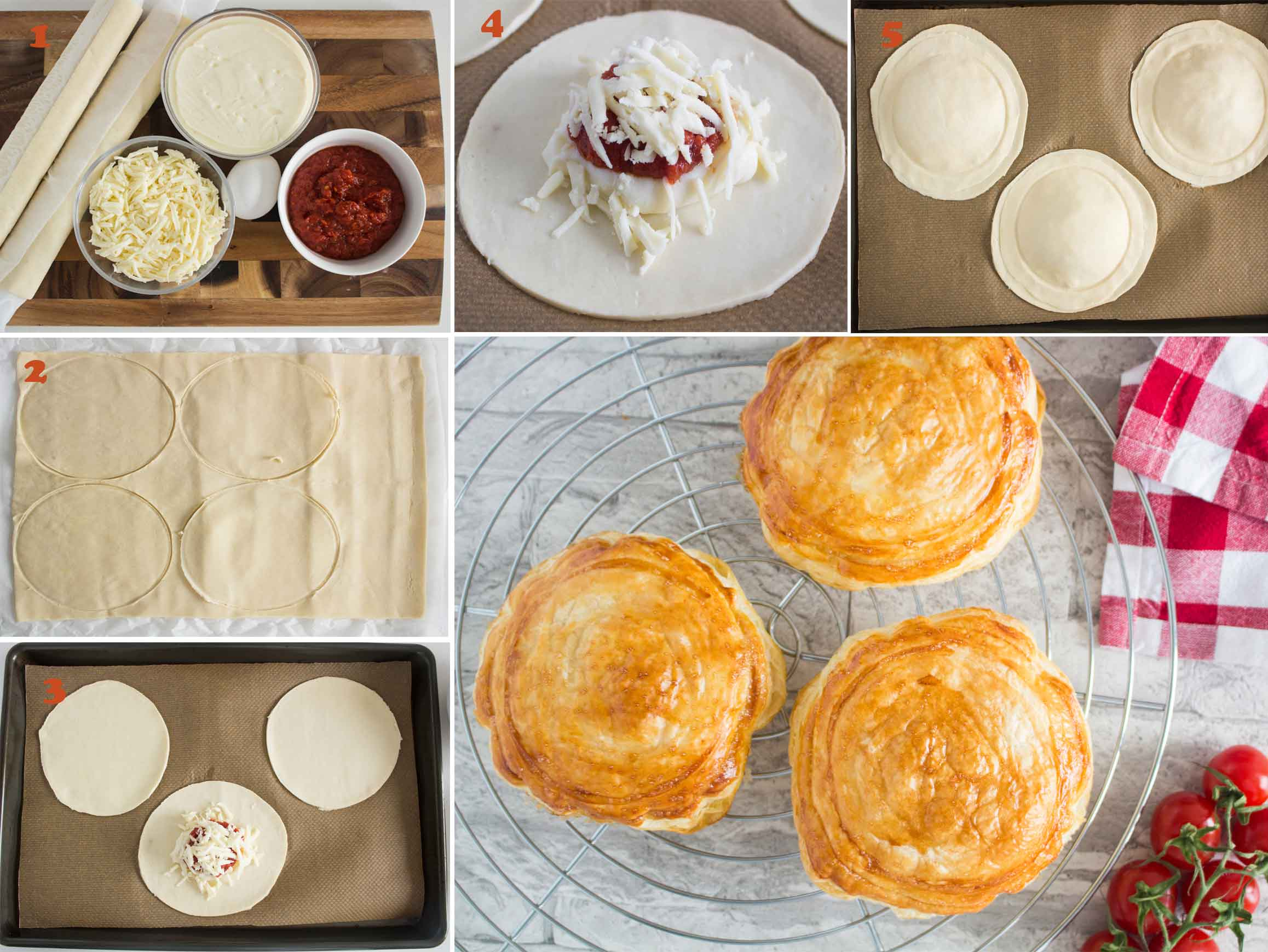 Collage of images showing how to make Tomato and Mozzarella Pastry (Rustico Leccese).