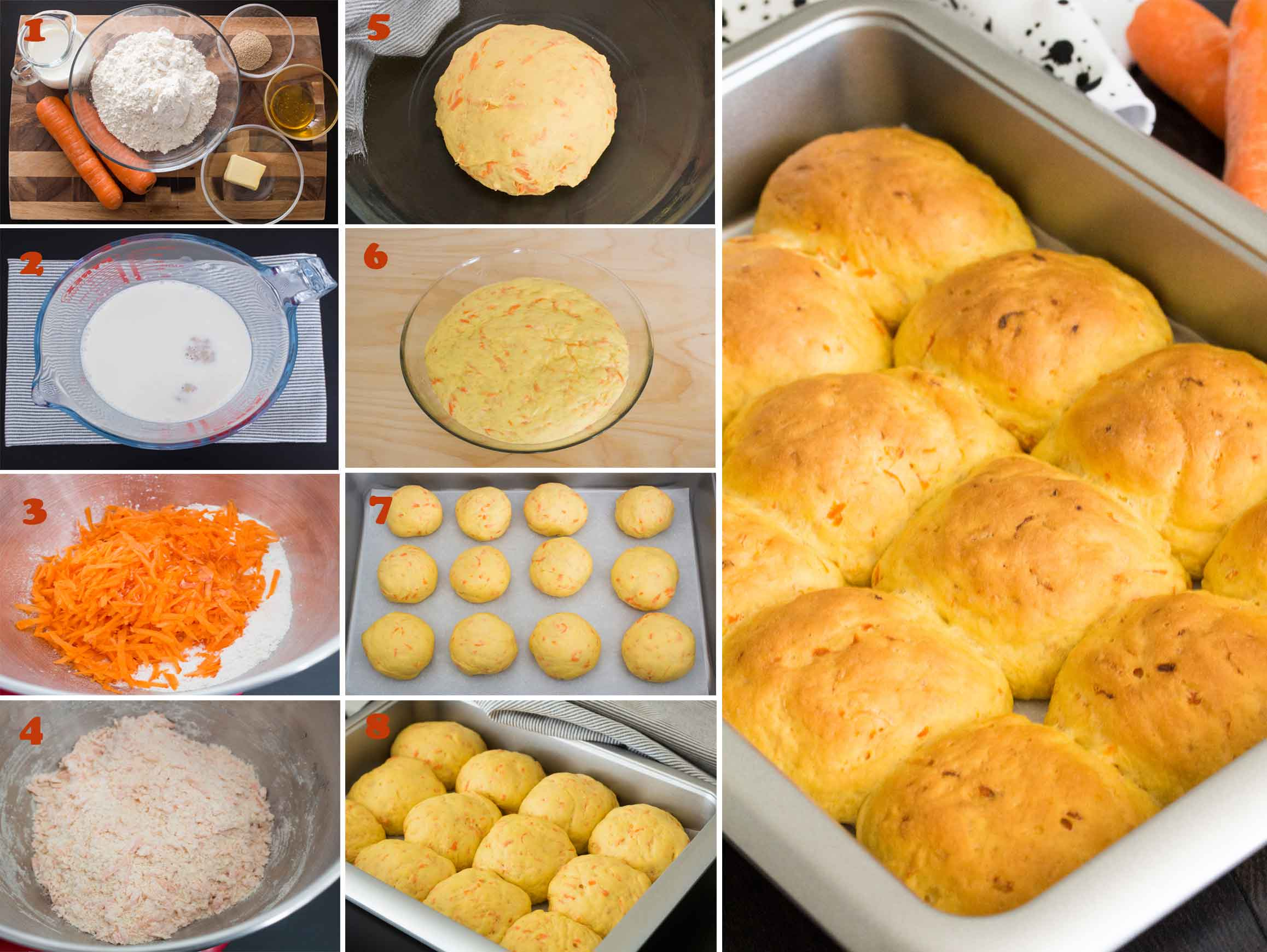 Collage of step by step images on how to make Finnish Carrot Bread Rolls
