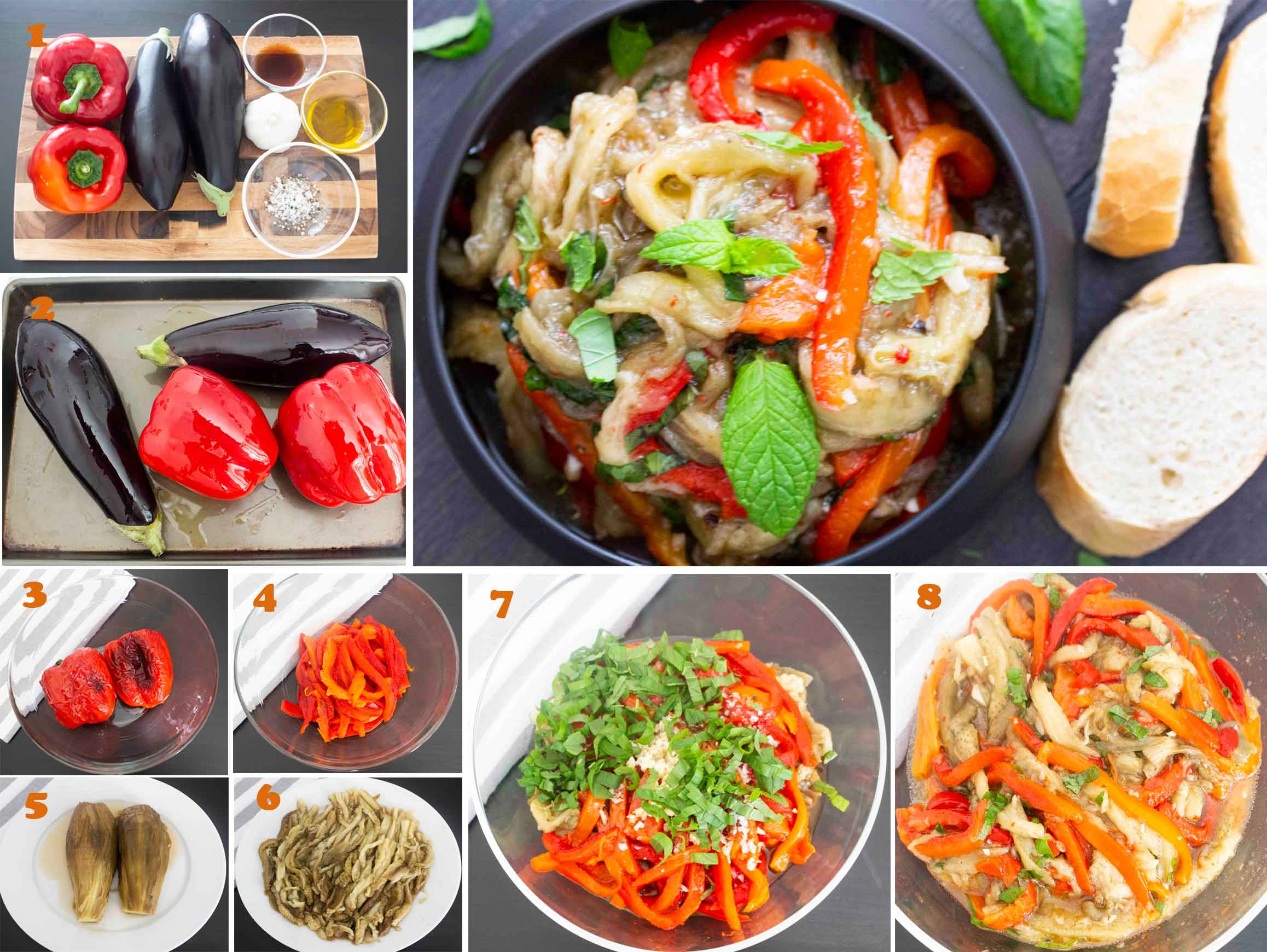 A collage of images showing the step by step process of making Spanish Marinated Eggplant & Peppers