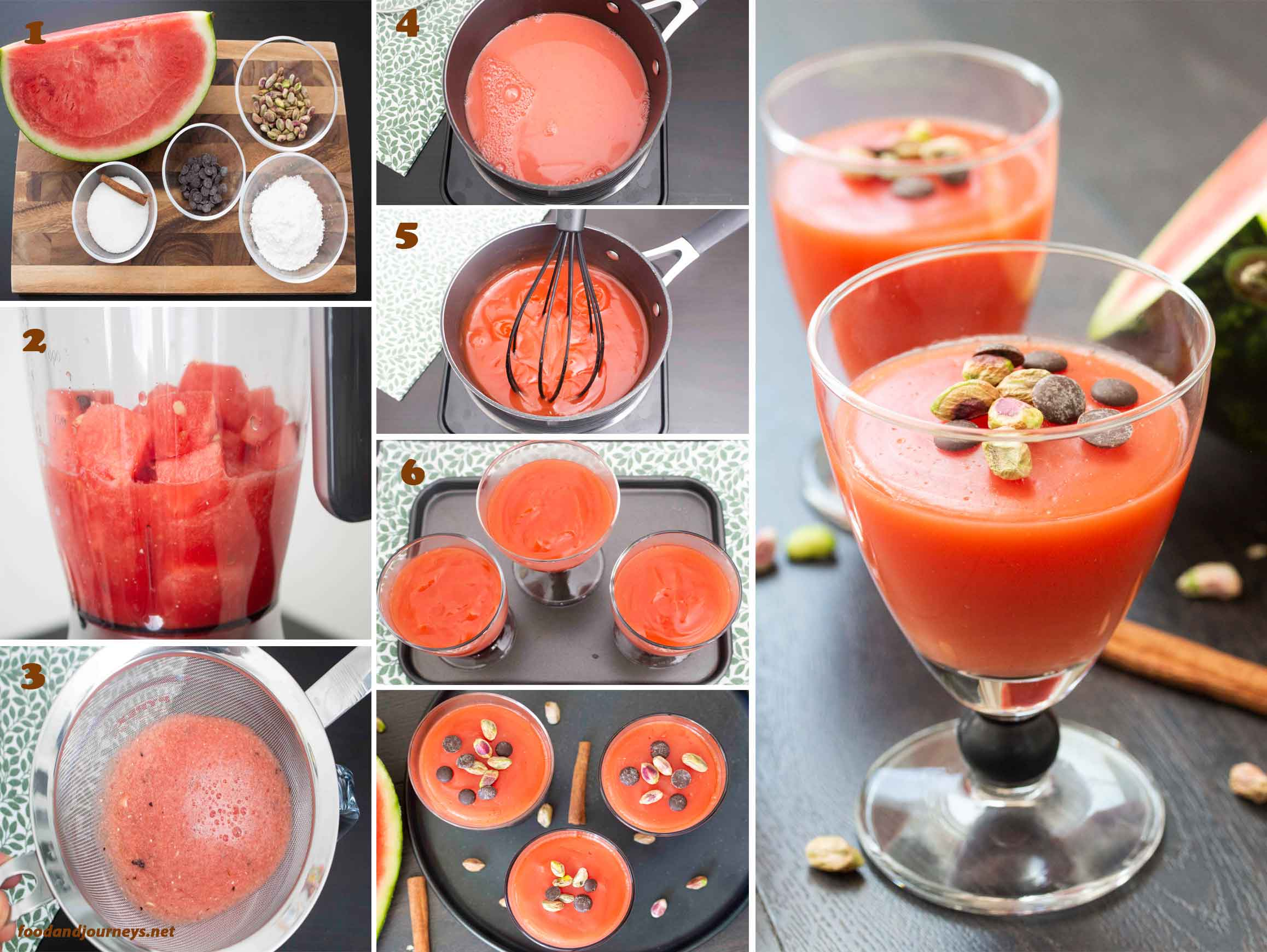 Collage of images showing how to prepare Sicilian Watermelon Jelly (Gelo di Anguria).