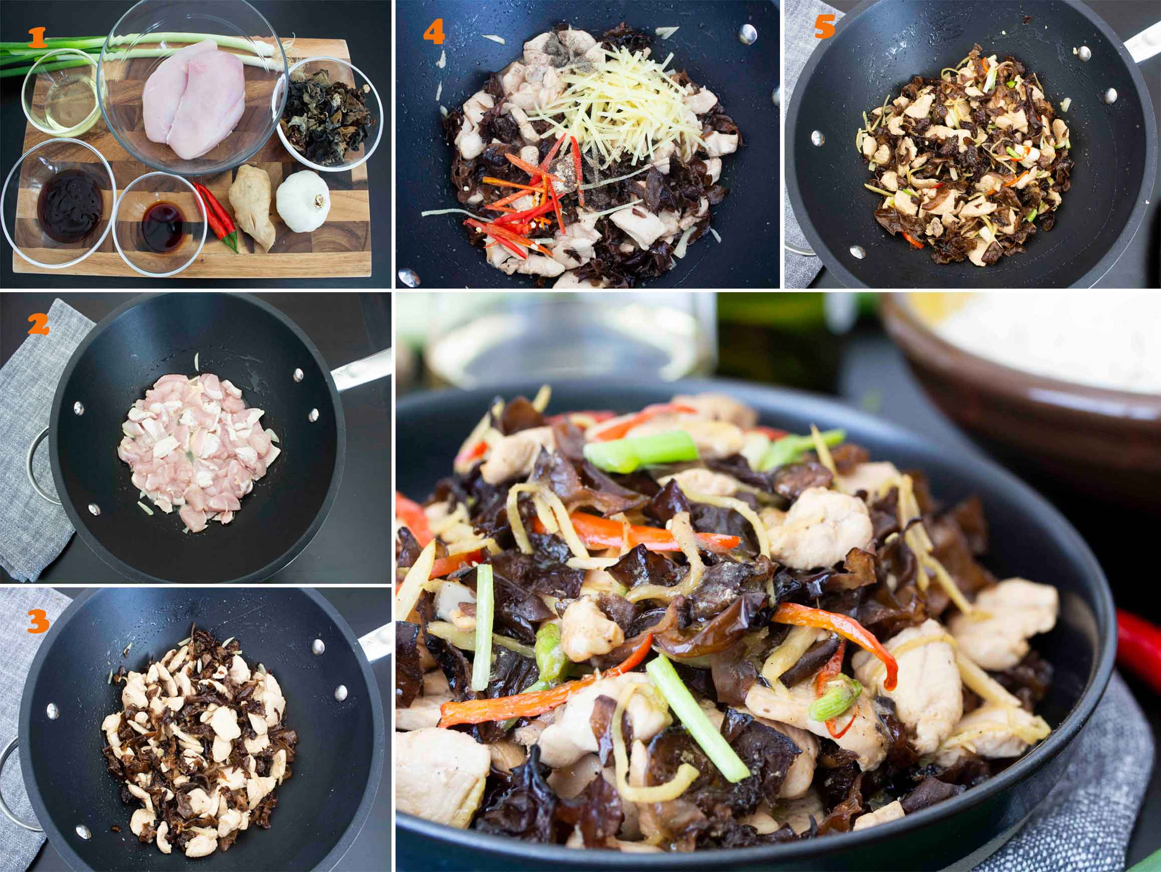 Collage of images showing the step by step process of making Thai Ginger Chicken.