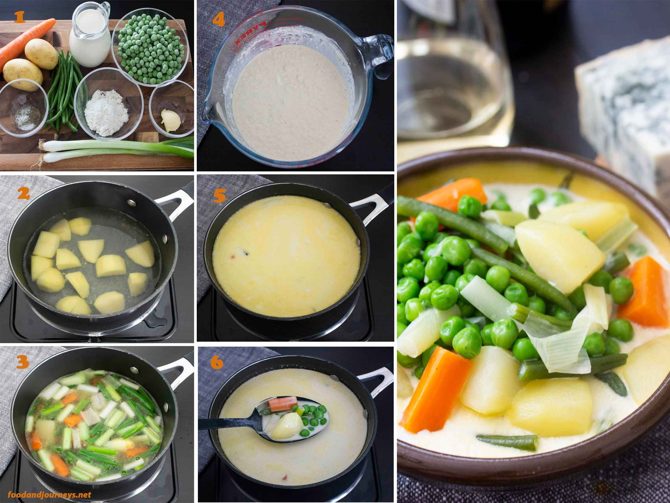 A collage of images showing the step by step process of making Finnish Summer Soup