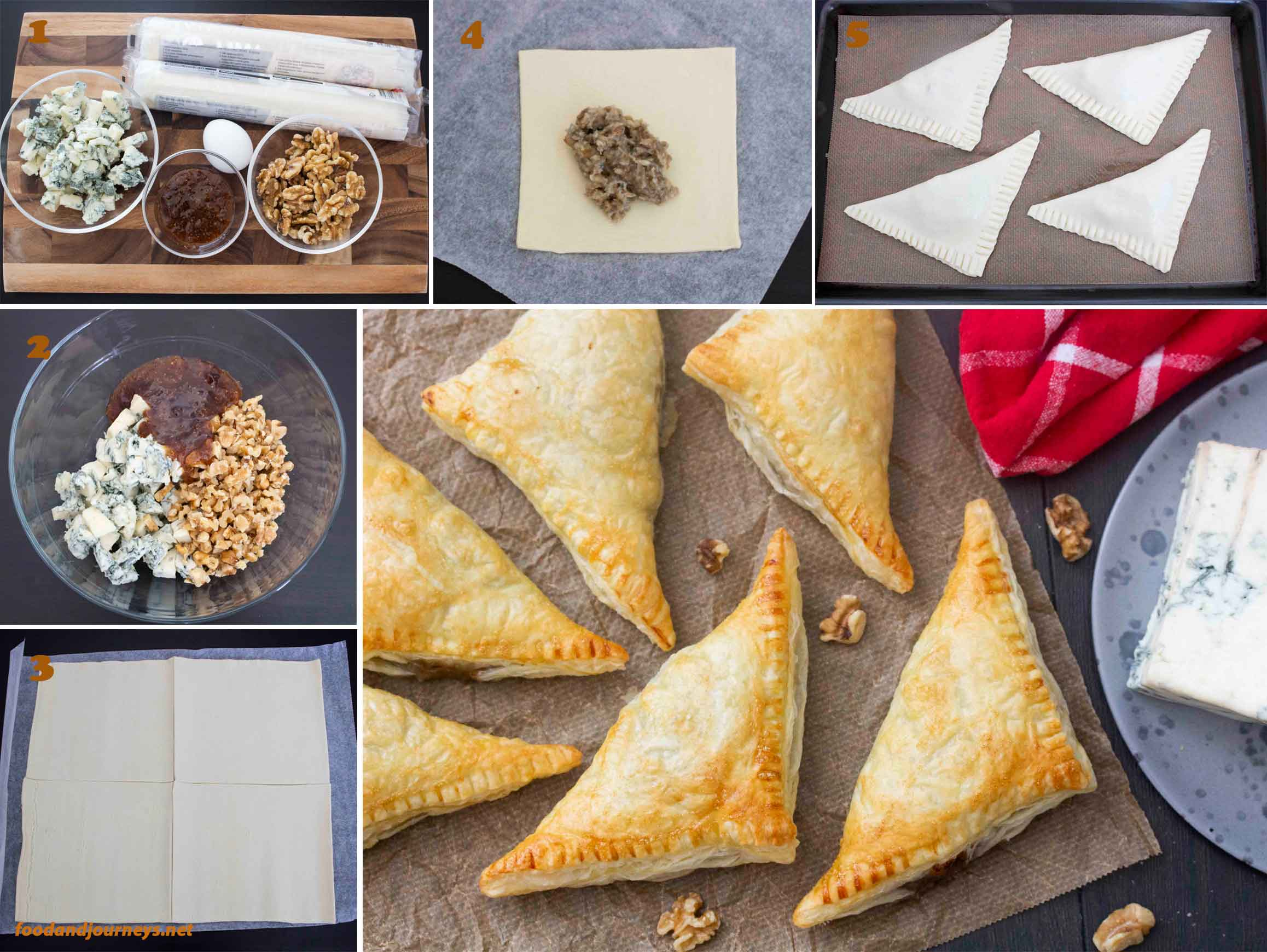A collage of images showing the step by step process on how to make gorgonzola figs & walnut triangles