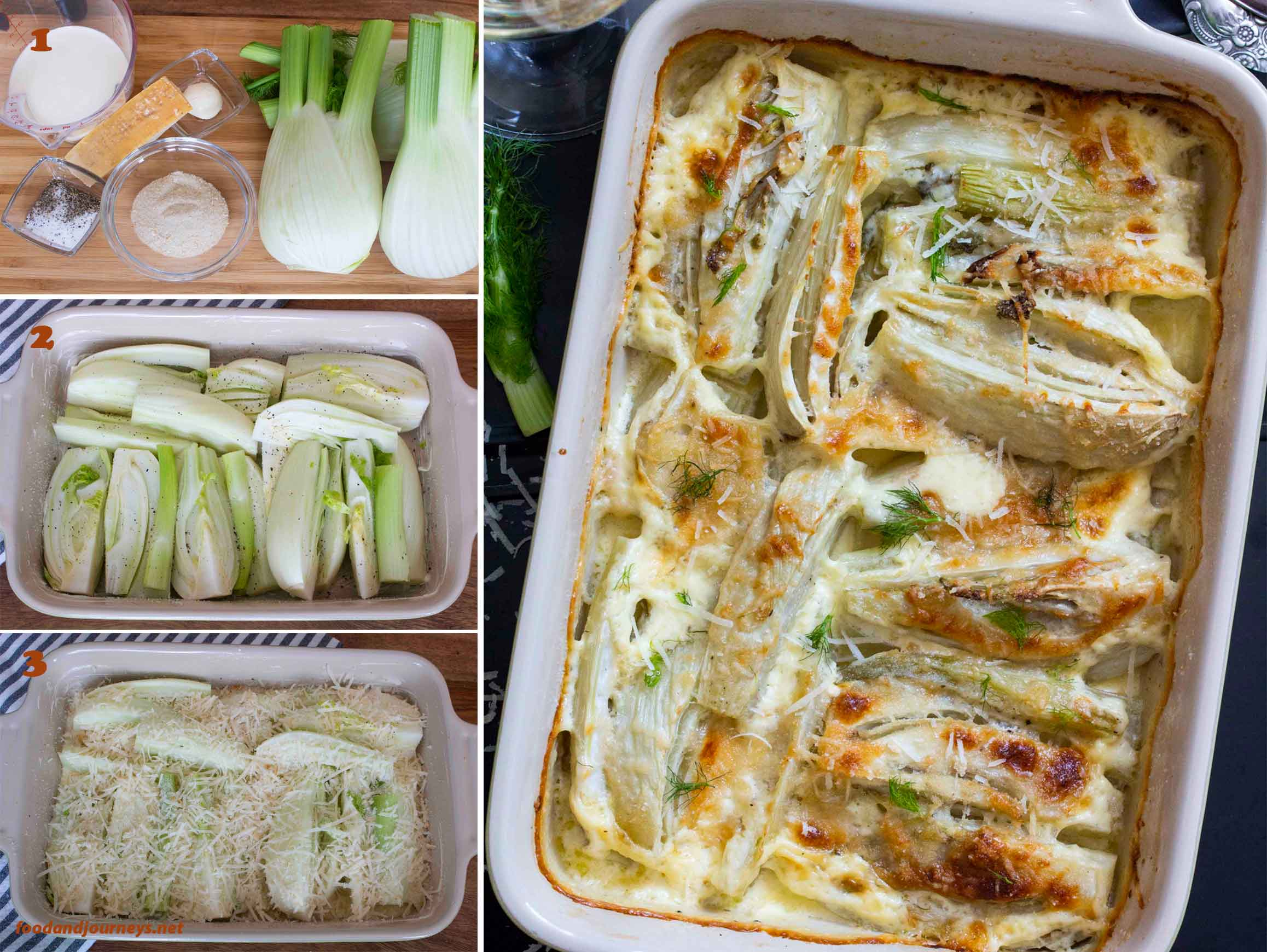 A collage of images showing step by step process on how to make Baked Fennel with Parmesan & Cream