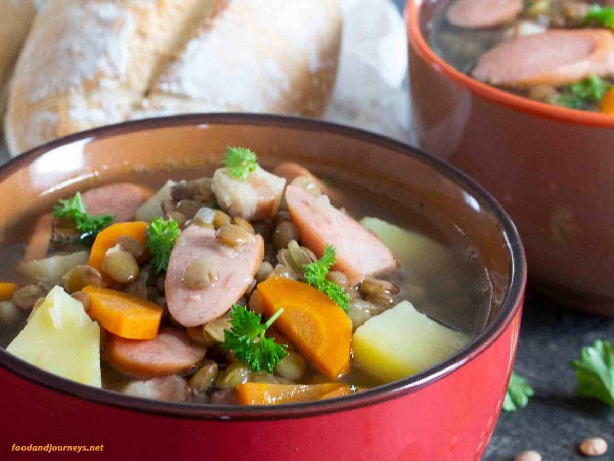 German Lentil Soup with Frankfurters