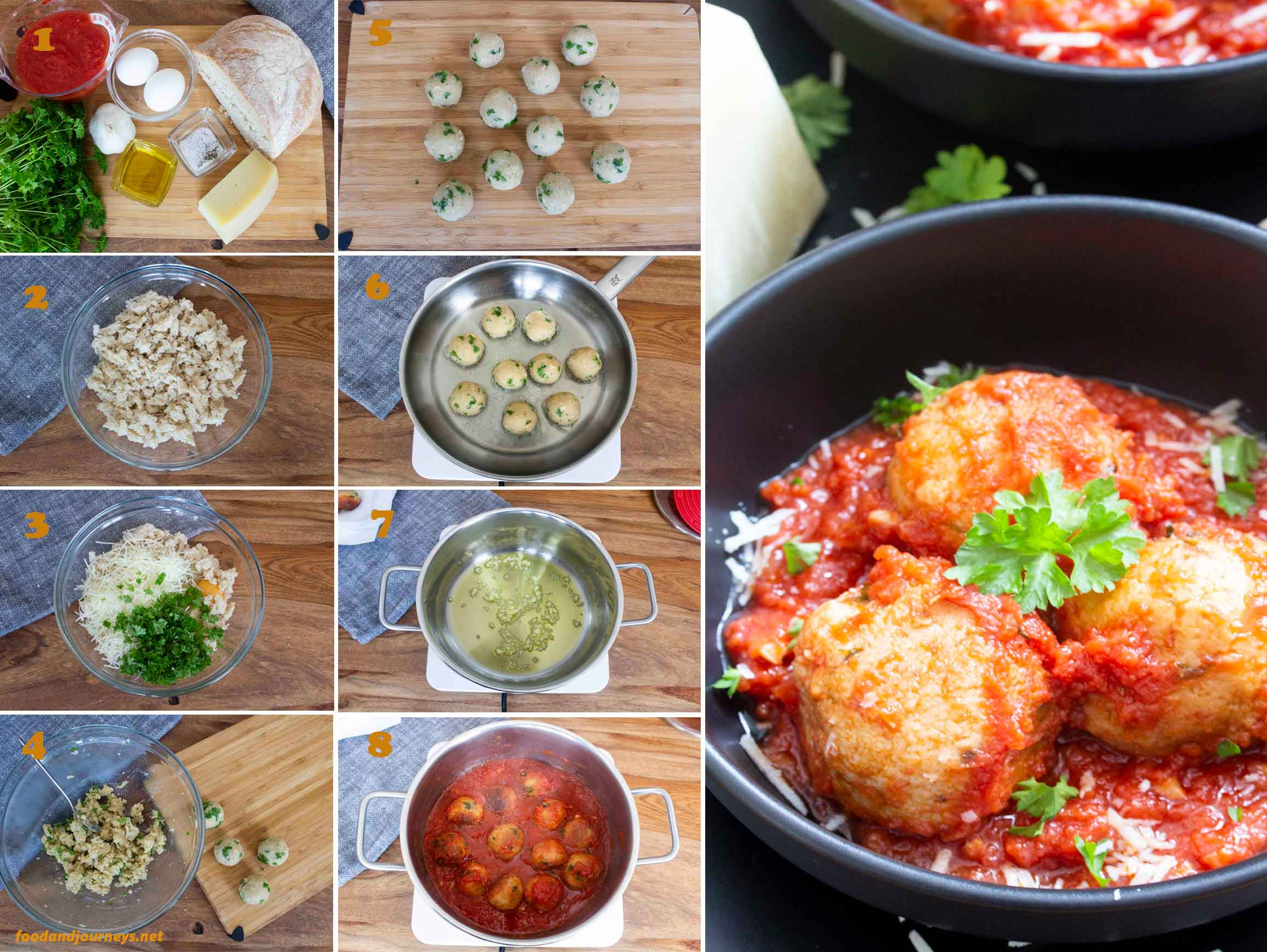 A collage of images showing the step by step process on how to make Italian Bread & Cheese Dumplings