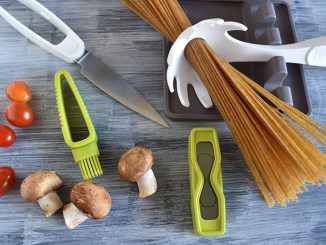 Tomorrow's Kitchen tools and pasta, mushrooms and tomatoes