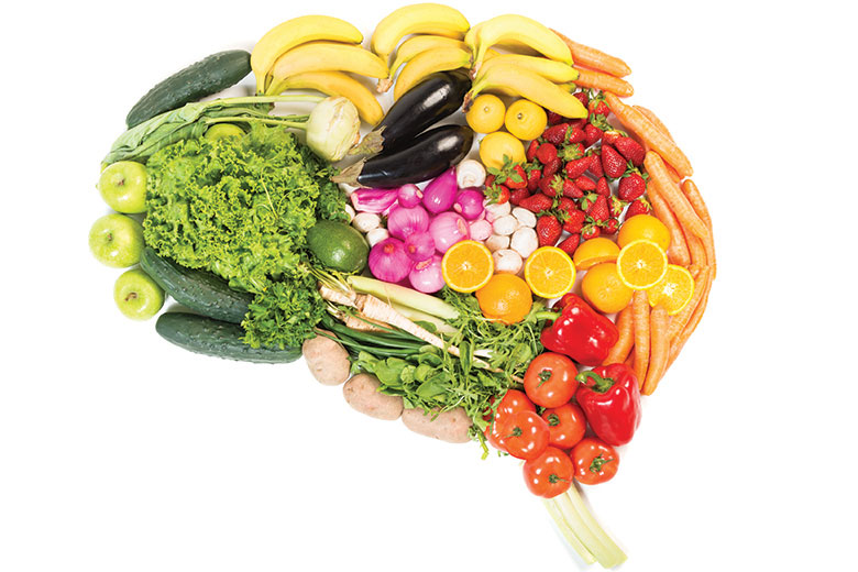 Vegetables arranged in the shape of a brain.