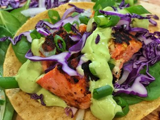 Blackened Fish Tacos with Red Cabbage & Avocado Crema