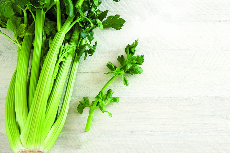 Green celery on the white wooden table