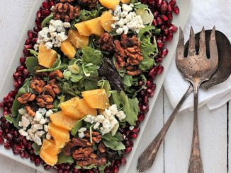 Spinach, Arugula & Pomegranate Salad with Cranberry Citrus Vinaigrette- Food & Nutrition Magazine - Stone Soup