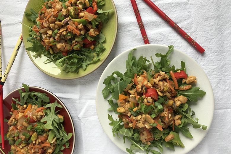 Vegetarian Stir Fry Salad with Tempeh on Bowls ready to eat