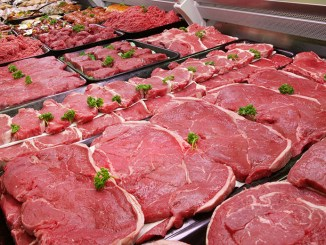 Butcher's Counter with rows of beef