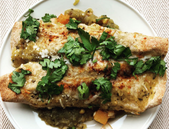 Spicy Green Butternut Squash Chickpea Enchiladas - Food & Nutrition Magazine - Stone Soup