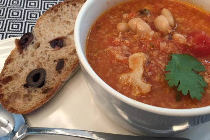 Tomato Soup with Roasted Cauliflower & Cannellini Beans | Food & Nutrition | Stone Soup