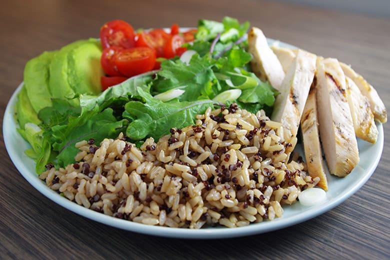 Brown Rice Quinoa Grain Salad With Chicken Avocado Food