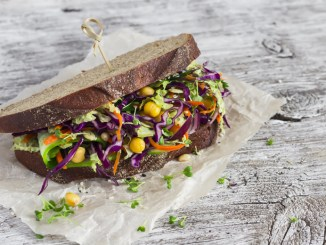 Vegetarian open cole slaw and a chickpea sandwich.