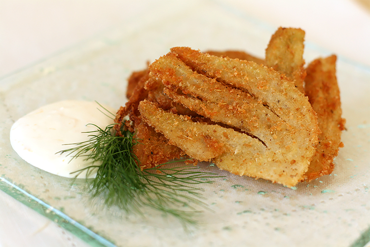 Parmesan-crusted fennel fritters with Meyer lemon dip