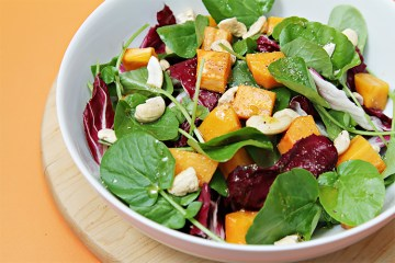 Watercress and radicchio salad with Fuyu persimmons and spicy lime vinaigrette