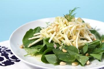 Celeriac and apple salad with watercress and Meyer lemon-shallot vinaigrette