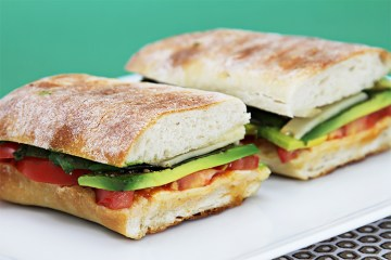 Smoked provolone panini with tomato and avocado