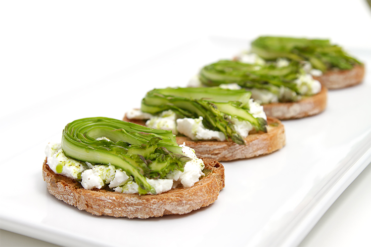 Shaved asparagus & goat cheese bruschetta with chive-infused oil