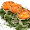 Arugula and shaved fennel salad with grilled apricots and Marcona almonds
