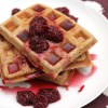 Chestnut flour waffles with blackberry-orange syrup