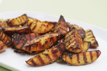 Grilled potatoes with rosemary and garlic-coarse sea salt