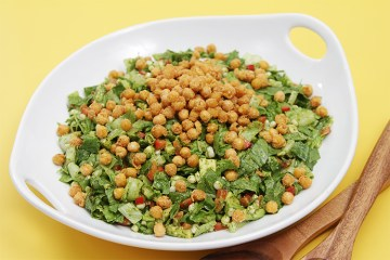 """Summer chopped salad with cilantro-lime vinaigrette and crispy chickpea """"croutons"""""""