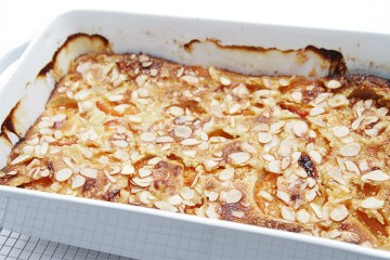 Apricot clafoutis with almonds