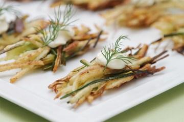 Potato latkes with leeks